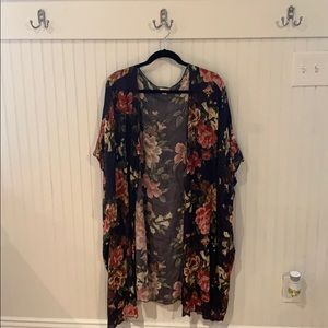 Navy and floral kimono. Great layering piece